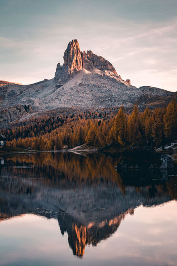 Reflection of mountain in lake against sky during sunset