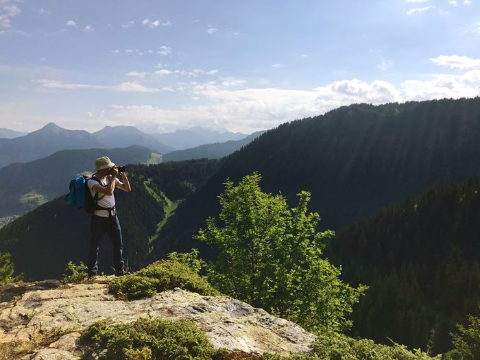 Landscape Photography DSLR Taking Photos Camera - Photographic Equipment Photographer Mountain Real People Hiking Mountain Range Beauty In Nature Nature Adventure Backpack Scenics Standing Landscape Day One Person Hiker Outdoors Full Length Lifestyles