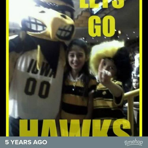 5 short years ago. The kids and I at a Iowa girls basketball game.
