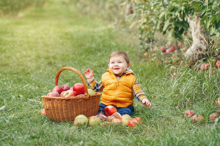Baby boy holding fruits in basket at park