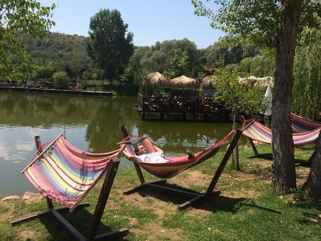 Beauty In Nature Chair Day Grass Growth Hammock Lake Nature Outdoors Reflection River Scenics Tranquil Scene Tranquility Tree Water