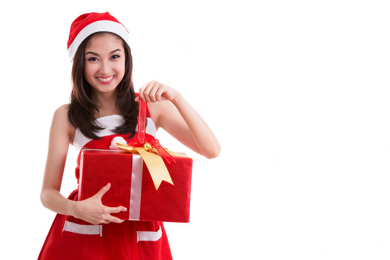 Merry Christmas Adult Adults Only Beautiful People Beautiful Woman Beauty Christmas Day Females Happiness Headband Looking At Camera One Person One Woman Only One Young Woman Only Only Women People Portrait Red Relaxation Smiling Studio Shot White Background Women Young Adult Young Women