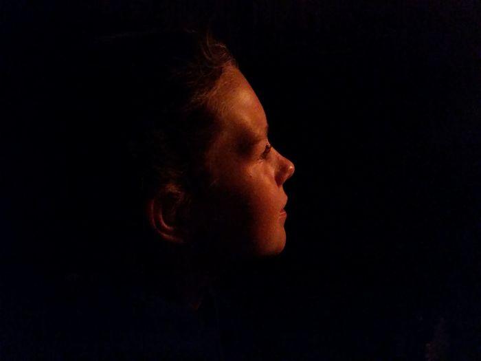 Black Background Chiminea Daughter Firelight Garden Headshot Human Face Night