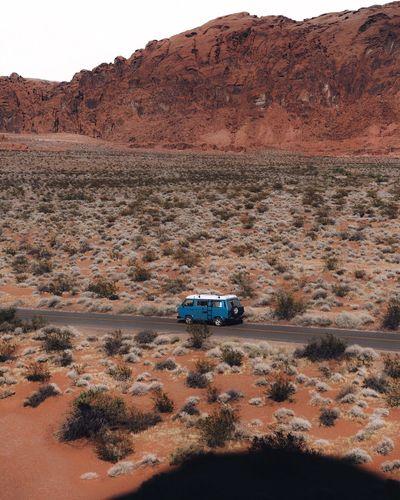 Car on desert land