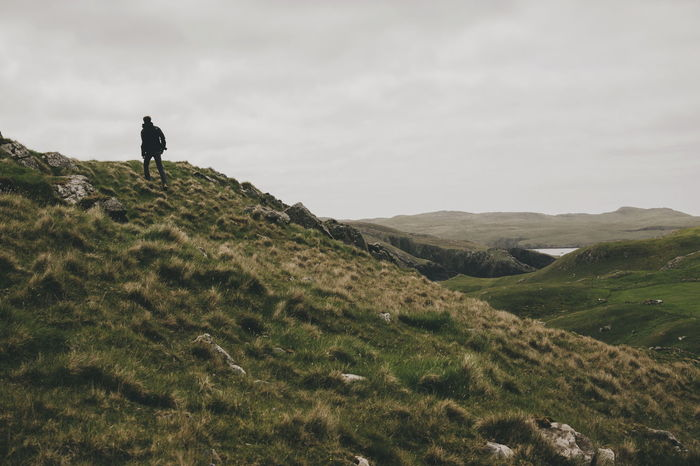 Island Shetland Hills Mountain Hiking Men Sky Hiker Farmland Countryside Tranquil Scene Scenics The Great Outdoors - 2018 EyeEm Awards The Traveler - 2018 EyeEm Awards Be Brave A New Beginning