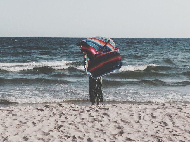 Ocean Beach Blanket Wind Woman