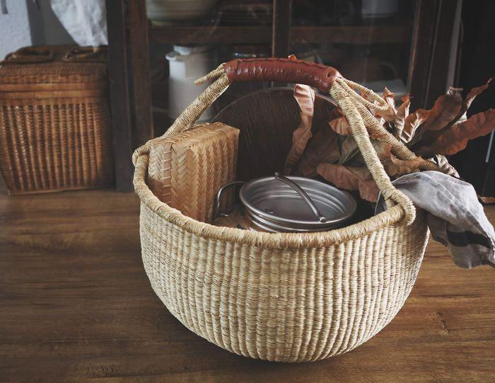野餐去 Knitting Needle Wool Jute Basket Knitting Close-up