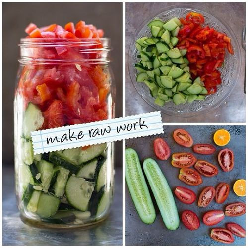 how to stay raw at work? tomato cucumber salad made in under 1 min ??? Makerawwork