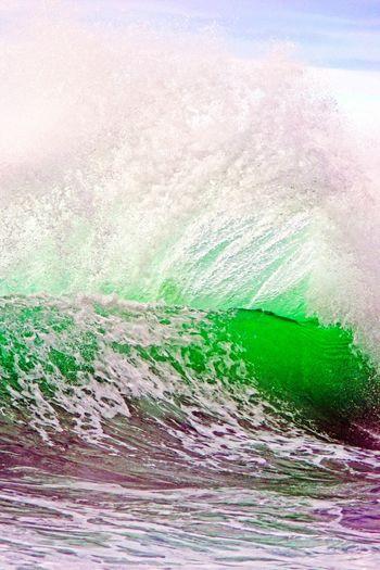 Staring in awe! Wave Shore Beach Ocean Backwash Hawaii Sprays Sea Outdoors Beauty