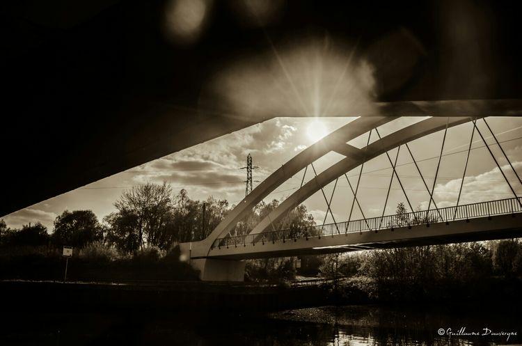 Pont du Moulin Black&white Cloud Train France