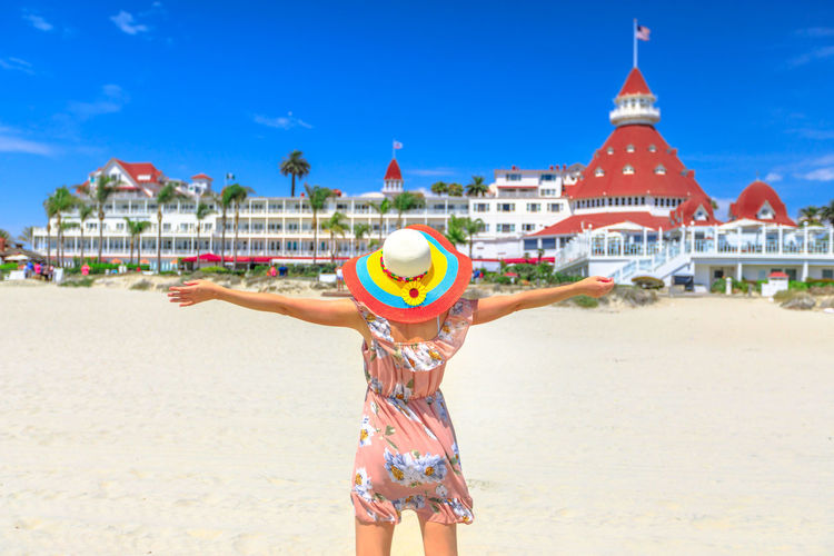 Carefree woman in hat on Coronado Central Beach, looking historic Victorian hotel on Coronado Island, San Diego. Lifestyle tourist enjoying ummer season in California West Coast, USA. Sunny blue sky. United States America American Woman People Female Girl California San Diego San Diego, California Beach Sea Seascape Skyline Cityscape Shore Nature Vacations Holiday Summer Lifestyles Tourist Coronado Coronado Beach Coronado Island Land Trip Travel One Person Built Structure Architecture Tourism Building Exterior Sky Women Day Travel Destinations Water Sunlight Hat Adult Human Arm Outdoors