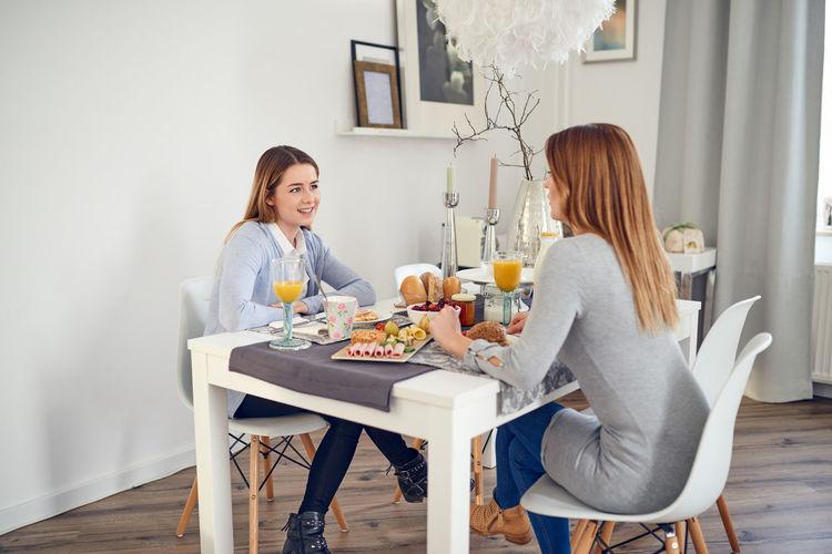 Female friends having breakfast at home