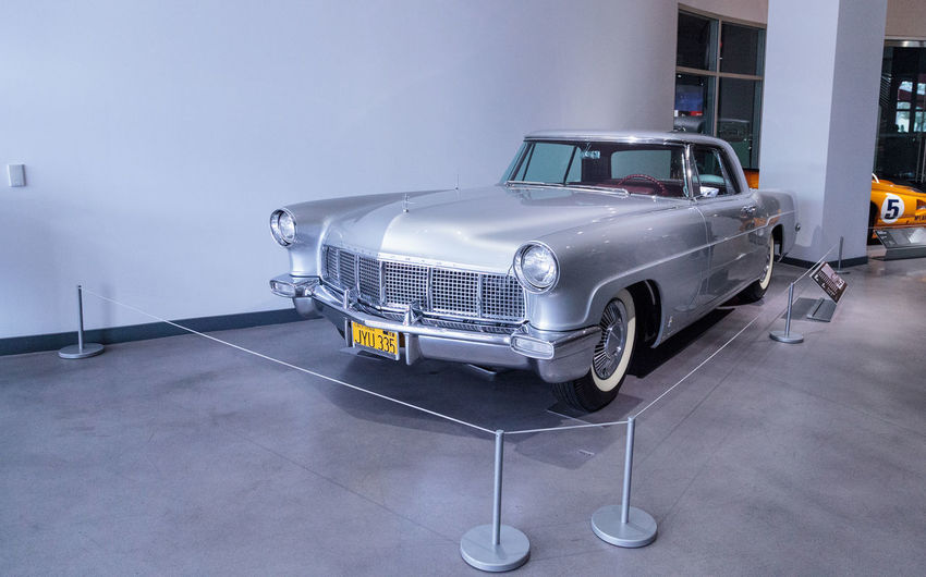 Los Angeles, CA, USA - March 4, 2017: Silver 1957 Lincoln Continental Mark II at the Petersen Automotive Museum in Los Angeles, California, United States. Editorial only. 1957 Antique Antique Car Classic Car Day Land Vehicle Lincoln Continental Mark Ii No People Old Car Old-fashioned Petersen Automotive Museum Transportation