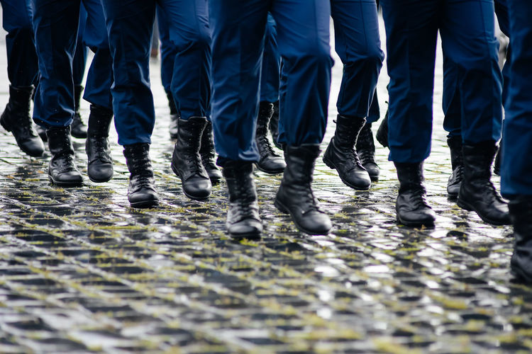 Soldiers marching and hiking Army Army Life Boots Discipline Feet Footpath Hiking Low Section March Men Military Military Base Military Life Soldier Soldiers Trooper Uniform Unrecognizable People Unrecognizable Person Walking