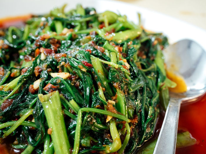 Spicy Sambal Kang Kong (water spinach) ASIA Asian Cuisine Asian Food Chinese Food Close-up Cuisine Delicious Food Food Porn Foodie Freshness Hawker Hawker Food Indulgence Meal Singapore Singapore Food Spicy Spicy Food Stirfry Vegetables