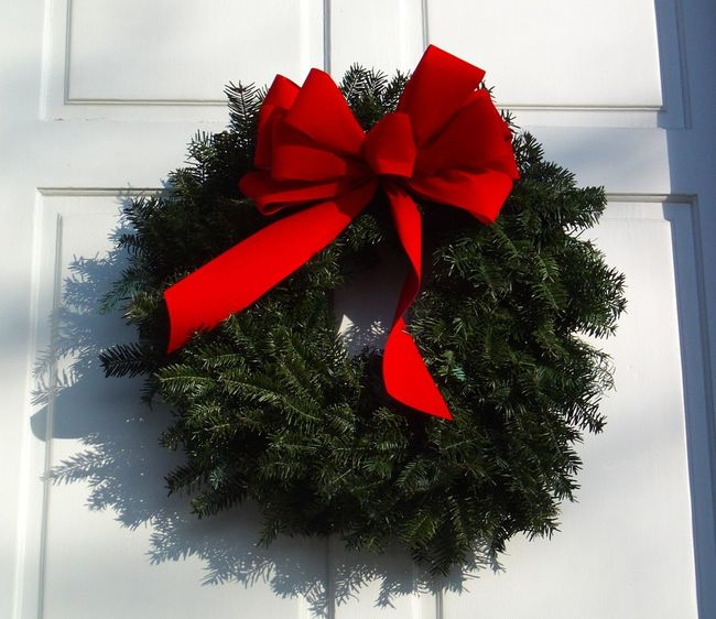 Christmas Christmas Wreath Decoration Greetings Holidays Red Ribbon Bow White Door Wreath