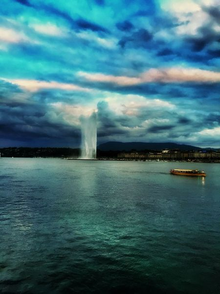 Storm Clouds And Sky Lake View Jetdeau Geneva Switzerland