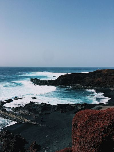 Blue Canarias Lanzarote Sea Water Sky Beach Horizon Beauty In Nature Scenics - Nature Horizon Over Water Tranquility Clear Sky Nature The Great Outdoors - 2019 EyeEm Awards