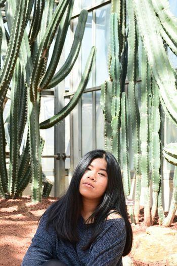 Portrait Of Woman Against Saguaro Cactus