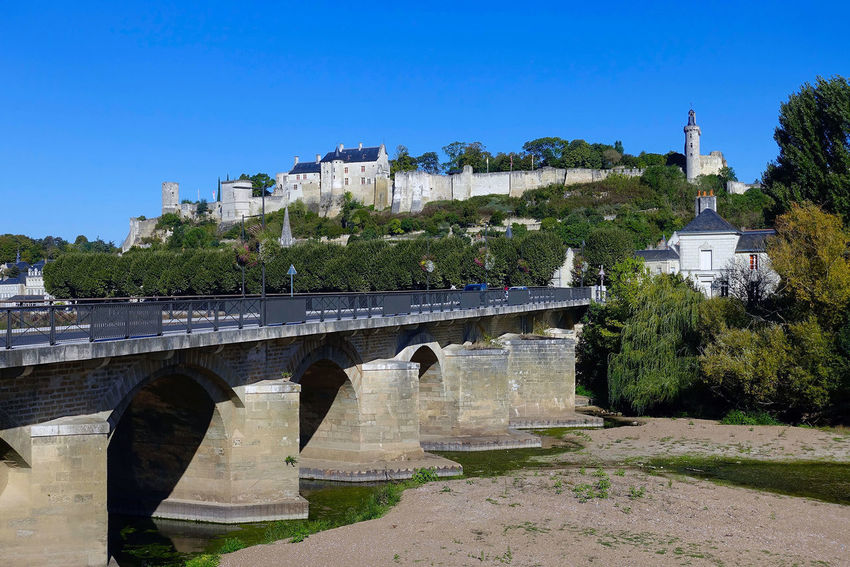 The bridge and the Royal Fortress of Chinon in France. Architecture Blue Bridge Bridge - Man Made Structure Building Exterior Check This Out City Clear Sky Day France History No People Outdoors Royal Fortress Sky Taking Photos Travel Destinations Tree Ventant River