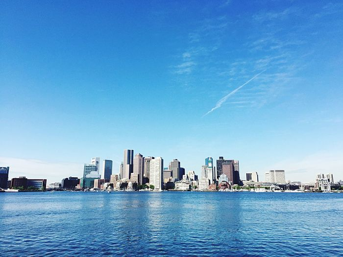 Boston Harbor Pier Water Blue Sky Ocean Landscape City Massachusetts