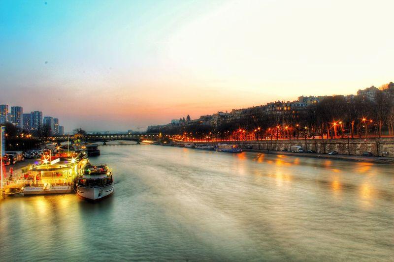 Today :) Paris Landscape Sunset Smooth Water Boats Long Exposure Photography France Europe EyeEm Best Shots EyeEm Nature Lover Enjoying Life