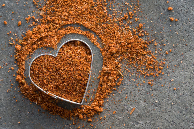 Close-Up Of Seasoning In Heart Shape