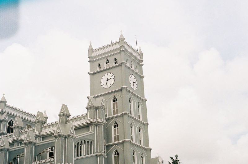 Built Structure Architecture Building Exterior Sky Cloud - Sky Building Tower Low Angle View Nature Clock Tower Time Day Clock No People Travel Destinations Travel The Past History Tourism Outdoors Gothic Style Spire  35mm Film