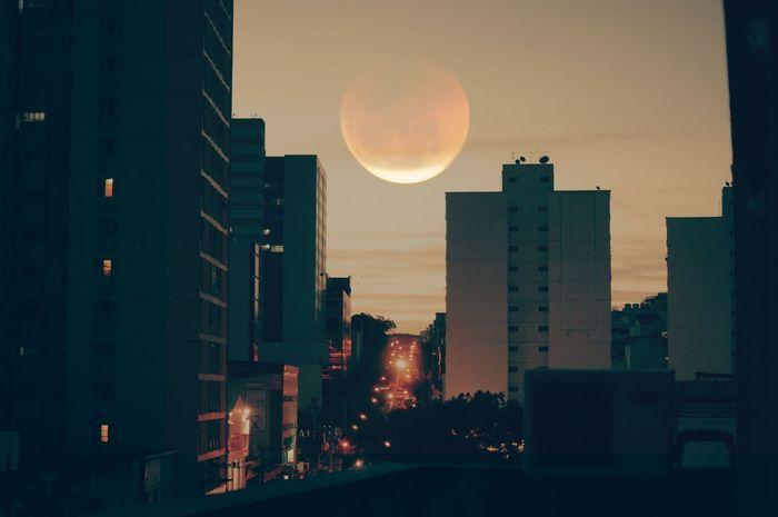 bloodmoon City Urban Skyline Cityscape Astronomy Moon Skyscraper Sunset Illuminated Dusk Full Moon