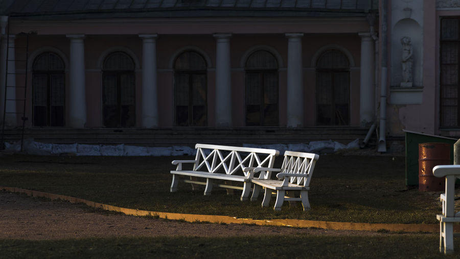 Russia, Moscow, the Palace in Ostankino. Absence Architectural Column Art Art And Craft Chair Column Creativity Design Empty Exterior Guidance Human Representation Indoors  Leading Narrow Old Sculpture Statue Urban