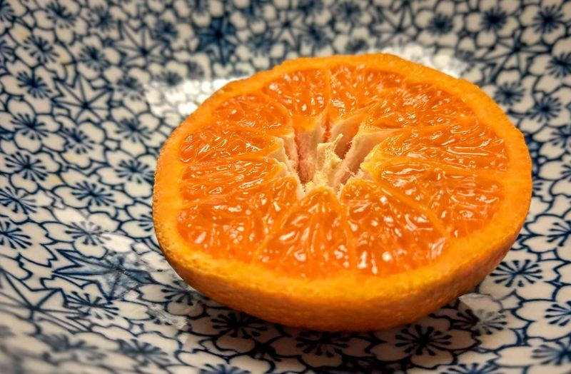 High angle view of orange slices