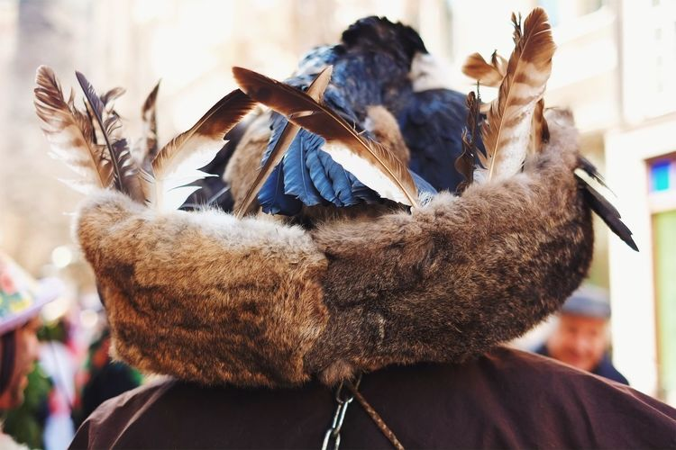 The hunter and the festival. Real People Close-up Outdoors Animal Themes Bird Sky Day Hat Hunting Feather  Trophee Leather Handmade Unique
