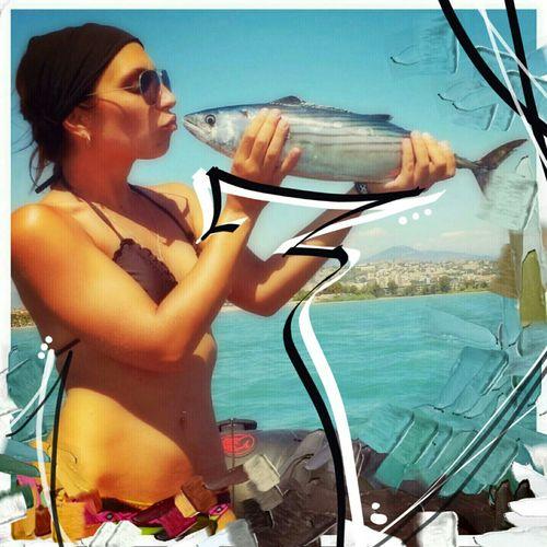 Fish On! Mediterranean  Peche En Mer Travel Trip Aroundtheworld Paint Fun Fishing Pelamide