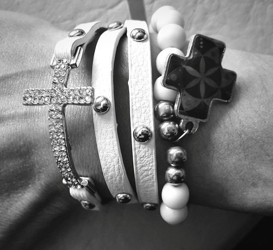 Wristbands High Angle View Close-up Jewelry Eyeem Photography Simple Things In Life Charms Bnw Monochrome Black & White Blackandwhite Photography Rockergirl Monochrome Photography Lieblingsteil Black And White Friday