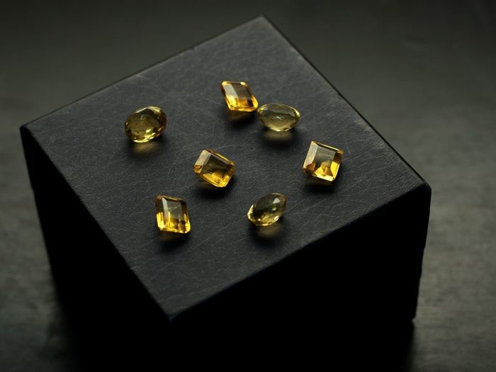 High angle view of objects on table against black background