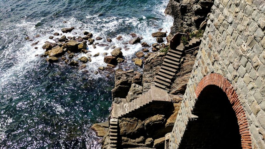 Water Day Outdoors No People Nature Architecture Beauty In Nature Sea Stairs Upstairs Stone Rocks Rocks And Water Tunel Cinque Terre Cinqueterre