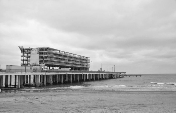 Beach Sea Architecture Outdoors No People Nature Prison Sky Water Day Business Finance And Industry Crisis Texas Photographer EyeEm Gallery Blackandwhite Photography This Week On Eyeem Black & White Photography Eyeemphotography Black And White Collection! Blackandwhite Black&white