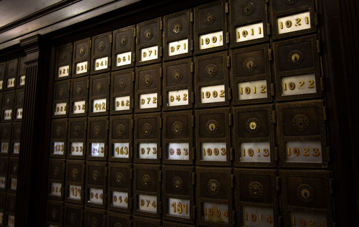 Abundance Antique Astoria Close-up Day In A Row Indoors  Large Group Of Objects Locker Locks Mail Mailbox No People Numbers Old-fashioned Oregon Oregon Coast Post Office Post Office Boxes Shelf Snail Mail Vintage Wood - Material