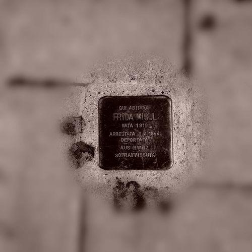 Close-up Stone Shoah Memorial Auschwitz  Pietra D'inciampo Frida Misul Deportation World War II Jewish Memorial Leghorn Livorno