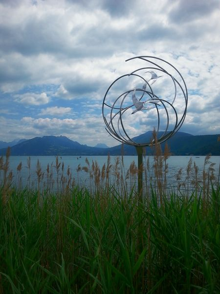 Love this moment just Before The Storm whith Dark Light and Dark Clouds... So Peace And Quiet! Stormy Weather Before Rain Stormy Sky Metal Sculpture Annecy, France Lake View
