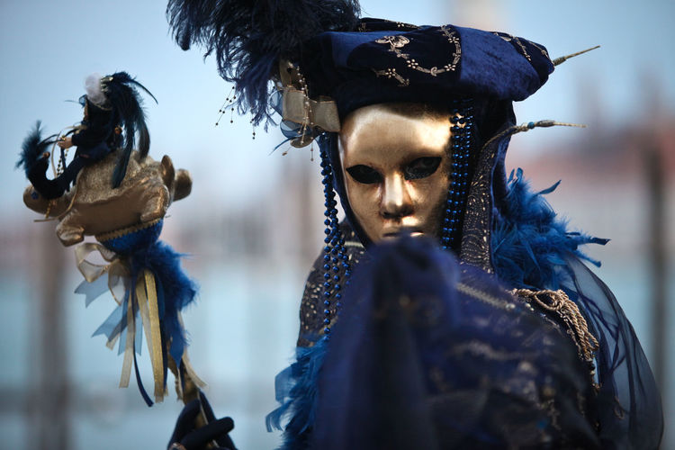 Carnival Carnival Crowds and Details Venezia Venice, Italy Blue Carnival - Celebration Event Close-up Clothing Costume Day Disguise Festival Hairstyle Headdress Headwear Lifestyles Mask Mask - Disguise One Person Portrait Real People Selective Focus Venetian Mask Young Adult
