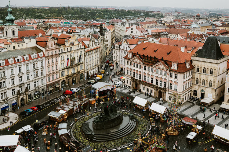 Prague Prague Czech Republic Europe Europe Trip Building Exterior Architecture City Built Structure High Angle View Building Crowd Street Residential District Transportation Day Incidental People Mode Of Transportation Town Motor Vehicle Crowded Nature Car Road City Life Cityscape Outdoors