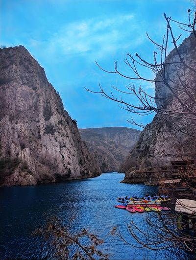 Water Blue Mountain Beauty In Nature Landscape Nature Sky Outdoors Floating On Water Matka Canyon The Great Outdoors - 2017 EyeEm Awards