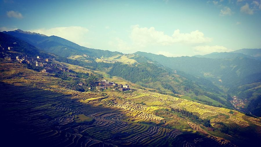 Mountain Nature Sky Landscape Beauty In Nature Tranquil Scene Tranquility Vacations Scenics Autumn China Crop  Tea Crop Argriculture Lost In The Landscape EyeEmNewHere