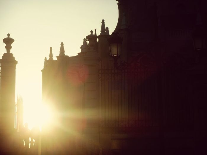 Sun Silhouette City Sunset Architecture No People Sunbeam Outdoors Sky Architecture City Life Urban Skyline Catedral Travel Destinations Madrid SPAIN Illuminated Building Exterior Walking Around Passion Tourism Sunlight Contrast