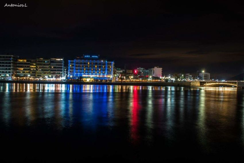 Night Illuminated Cityscape City Travel Destinations Urban Skyline Reflection