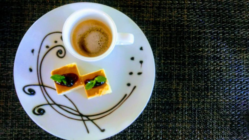 Cheesecake Espresso Coffee Shot Plate Ready-to-eat Food And Drink High Angle View Serving Size No People Food Directly Above Placemat Texture Plating Dessert Chocolate Art