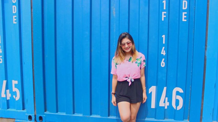 Blue Photography Photooftheday Photo Camera Korea Seoul Fashion Ootd Outfit Outdoors Building Exterior Pink City Street Town Art Wall Ground Asian  Summer Hot Film Shooting