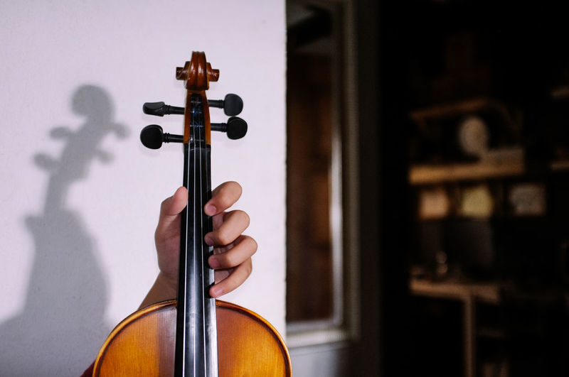 Close up view of man holding a violin