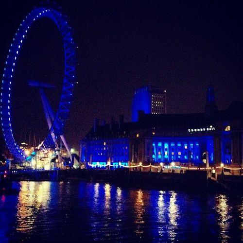 London evening impression - London eye in blue Uk Photooftheday Ferry Picoftheday Attraction London2012 Olympics Scenic Night Thames River Igerslondon Beautiful Thamse Evening Igersuk Blue Ferrywheel London Olympicgames Wheel Themse LondonEye
